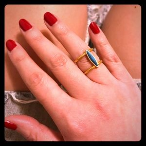Madewell Gold Aqua Wide Ring Delicate Tear Drop